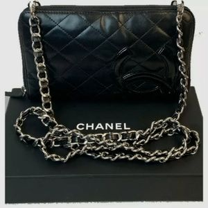 CHANEL Calfskin Black Leather Quilted wallet